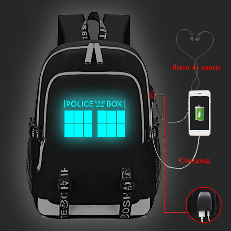 Doctor Who Luminous Backpack Daily School Bags for Teenagers USB Charge Laptop Backpack Boys Girls Travel Rucksack