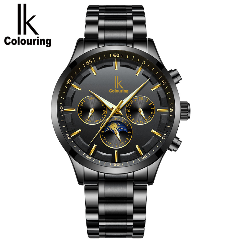 IK Automatic mechanical watch male watch multifunctional trend waterproof business watch men 's steel fashion men s casual watches men s watch students quartz watch waterproof business watch fashion trend korean version of the watch