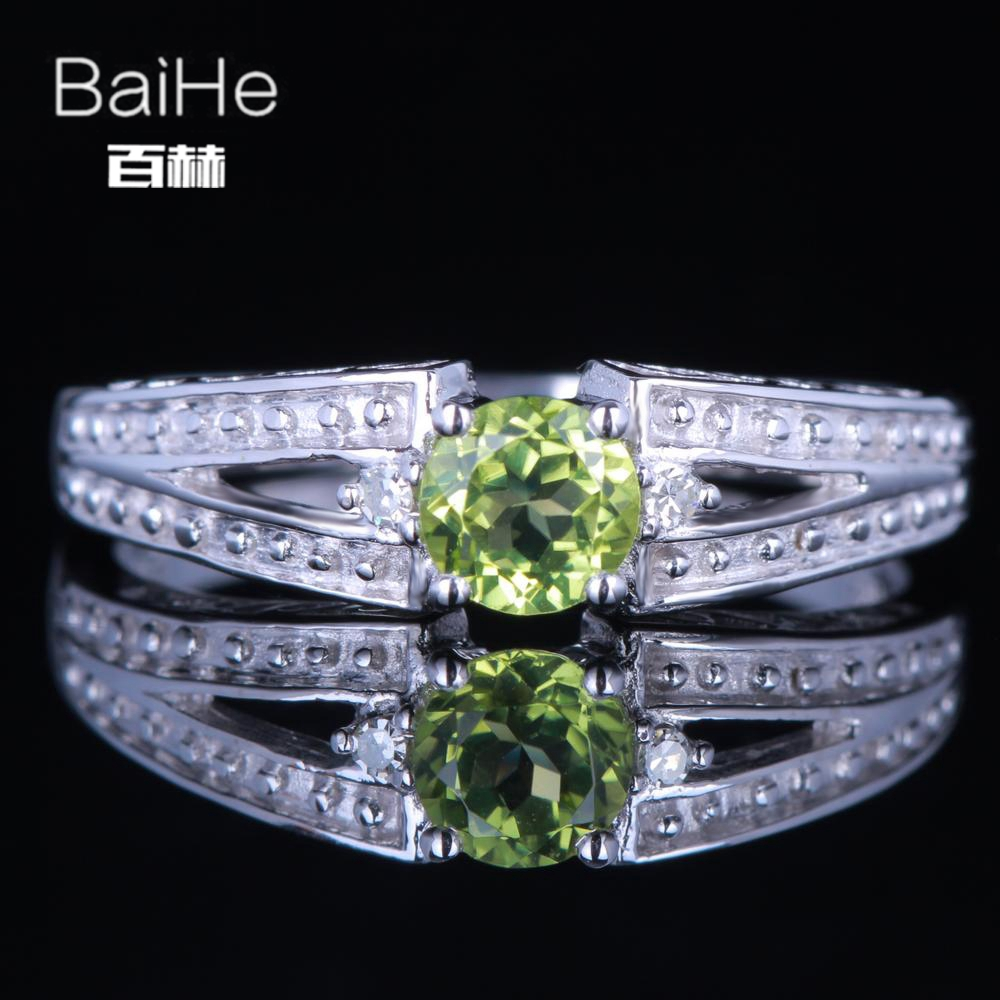 BAIHE Sterling Silver 925 0.39ct Certified Flawless Round 100% Genuine Peridot Engagement Women Trendy Fine Jewelry Ring цена
