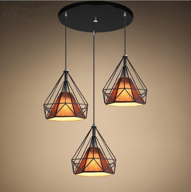 Loft Industrial Creative Iron Black Diamond Shape Living Room Pendant Light Restaurant Light