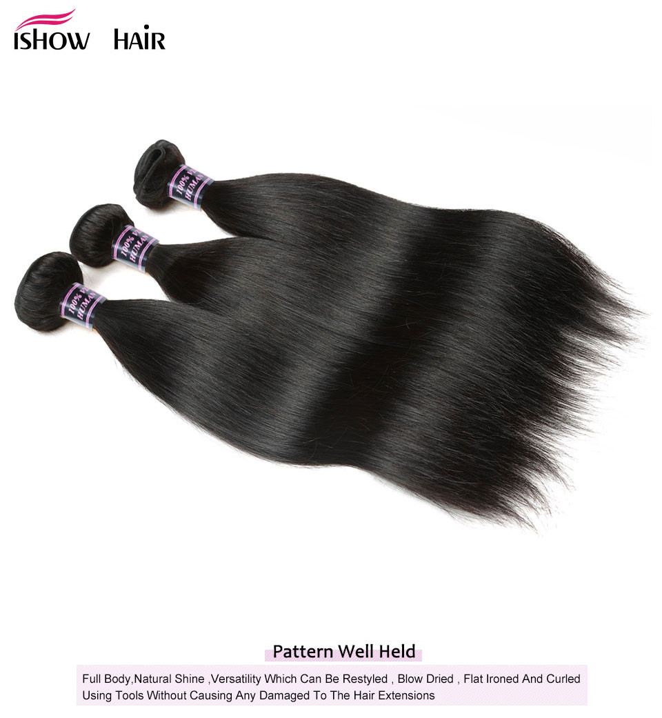 _05  Ishow Hair Ear To Ear Lace Frontal Closure With Bundles Brazilian Straight Human Hair three Bundles With Closure Non Remy four Pcs/lot HTB1bcyLdNSYBuNjSsphq6zGvVXaO