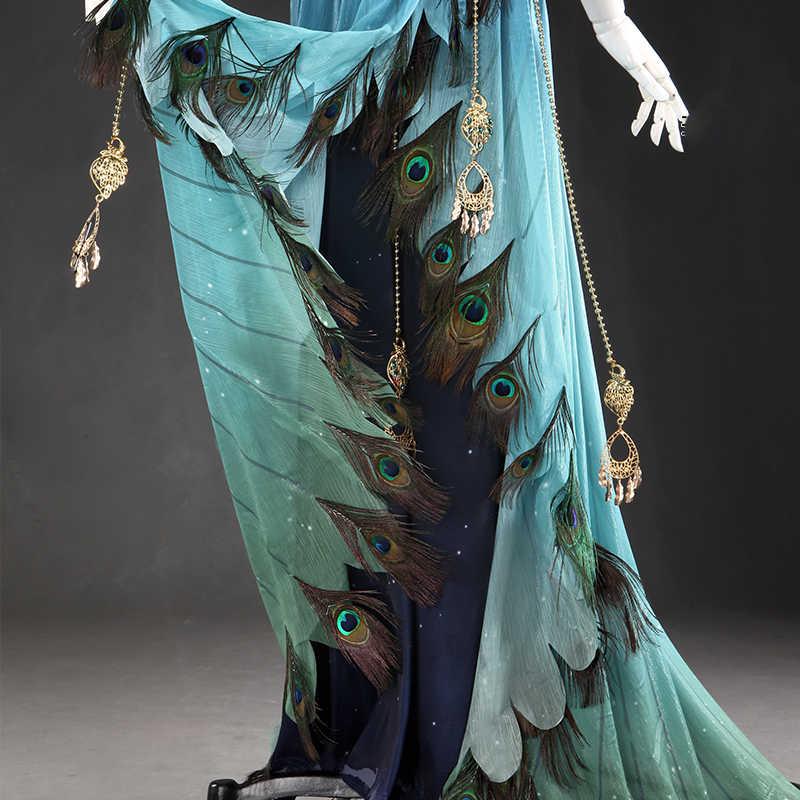 UWOWO аниме перо одежда Song серии синий павлин женщин Косплей Костюм Платье вечерние девушки танцевальный костюм для женщин