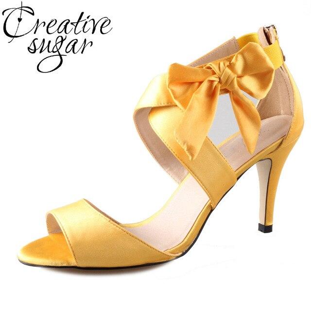 071500214 Creativesugar cruzou cinta sandálias arco outono amarelo dourado aquarela  vestido de noiva sapatos de casamento festa
