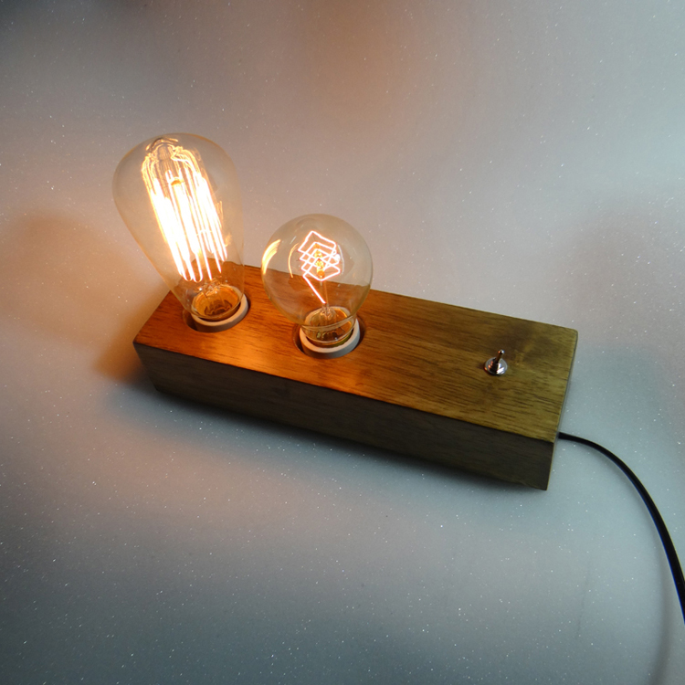 Edison Vintage Loft Bulbs Wooden shade Handmade Wood LED Night Table Lamp Wooden Desk Lighting Modern Desk Light Decor 110-240V 3d led usb wooden night table lamp desk light modern luminaria de mesa acrylic kid bedroom bulbing creative gift abajur 110 240v