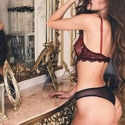 Сексуальный бюстгальтер кружевной прозрачный бралет без подкладки без проволоки тонкие сетчатые женские трусики нижнее белье женский ком... 3