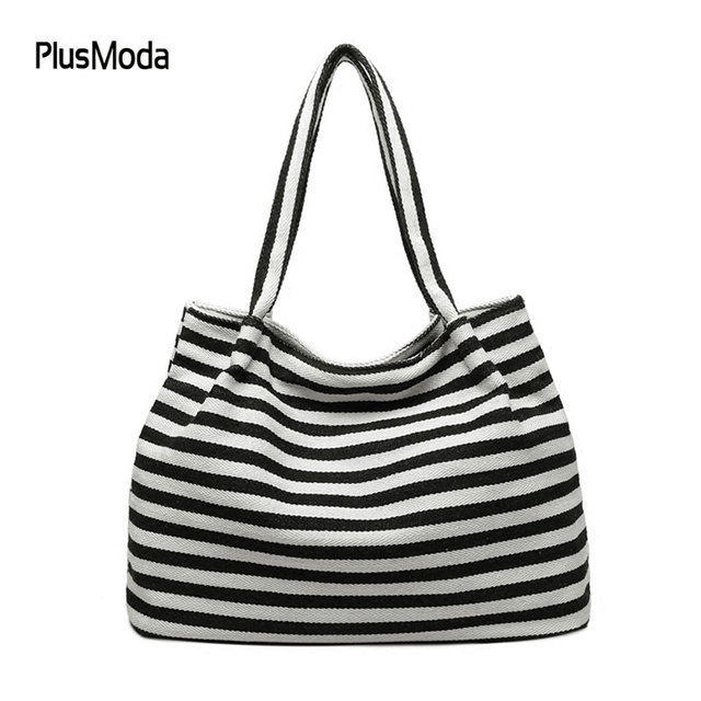 6b5d586c01 2017 Women Travel Shopping Bags Summer Beach Big Shoulder Bags Ladies Large  Capacity Canvas Striped Messenger Tote Bag Purse