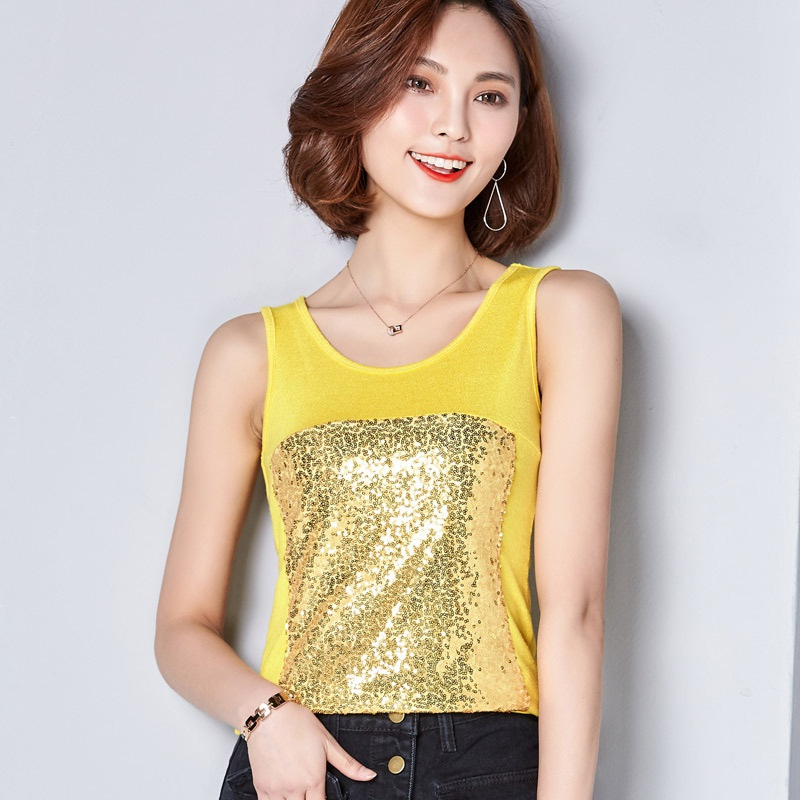Women Summer Sexy Sequined Splice Design Sleeveless Vest Bottom Fashion Sexy Tank Tops Clothes