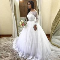 New Fabulous Wedding Dresses with Long Sleeves Beading Lace Appliques Sparkly Tulle Bridal Gowns Any Size and Any Color Vestidos
