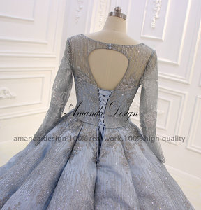 Image 4 - Amanda Ontwerp Hoge Kwaliteit Lange Mouwen Plisse Blauw Anniversary Trouwjurk