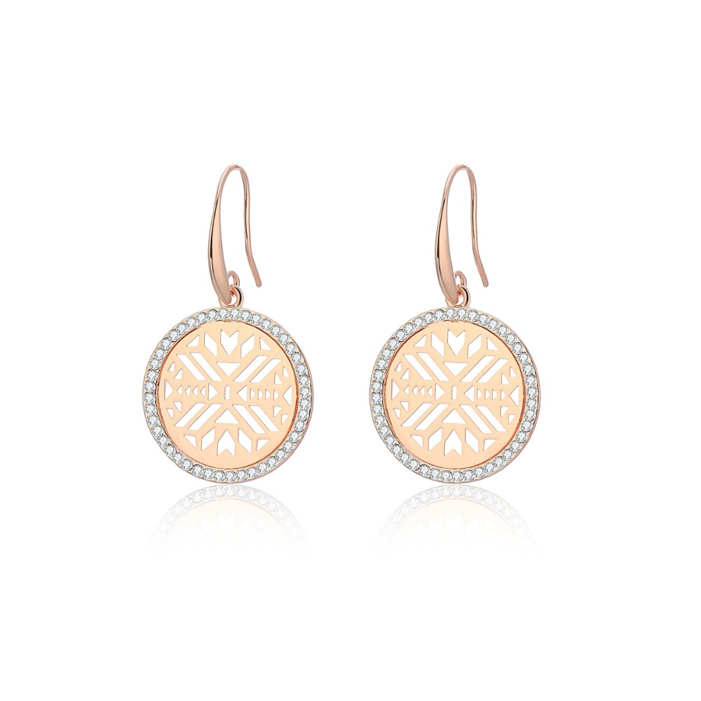 Vintage Gold Silver Crystal Drop Earrings For Women Round Hollow Geometric pendientes mujer Fashion Jewelry 2019 New Wholesale in Drop Earrings from Jewelry Accessories