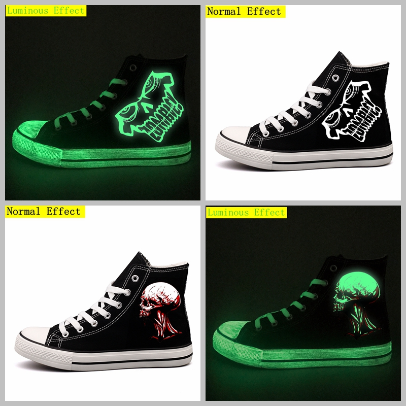 Halloween Party Printed Canvas Shoes Glow Effect Halloween Monster Design Men Tenis Espadrilles Luminous Skeleton Print Shoes e lov brand design japan logo printed canvas shoes women customized japanese summer platform tenis shoes espadrilles