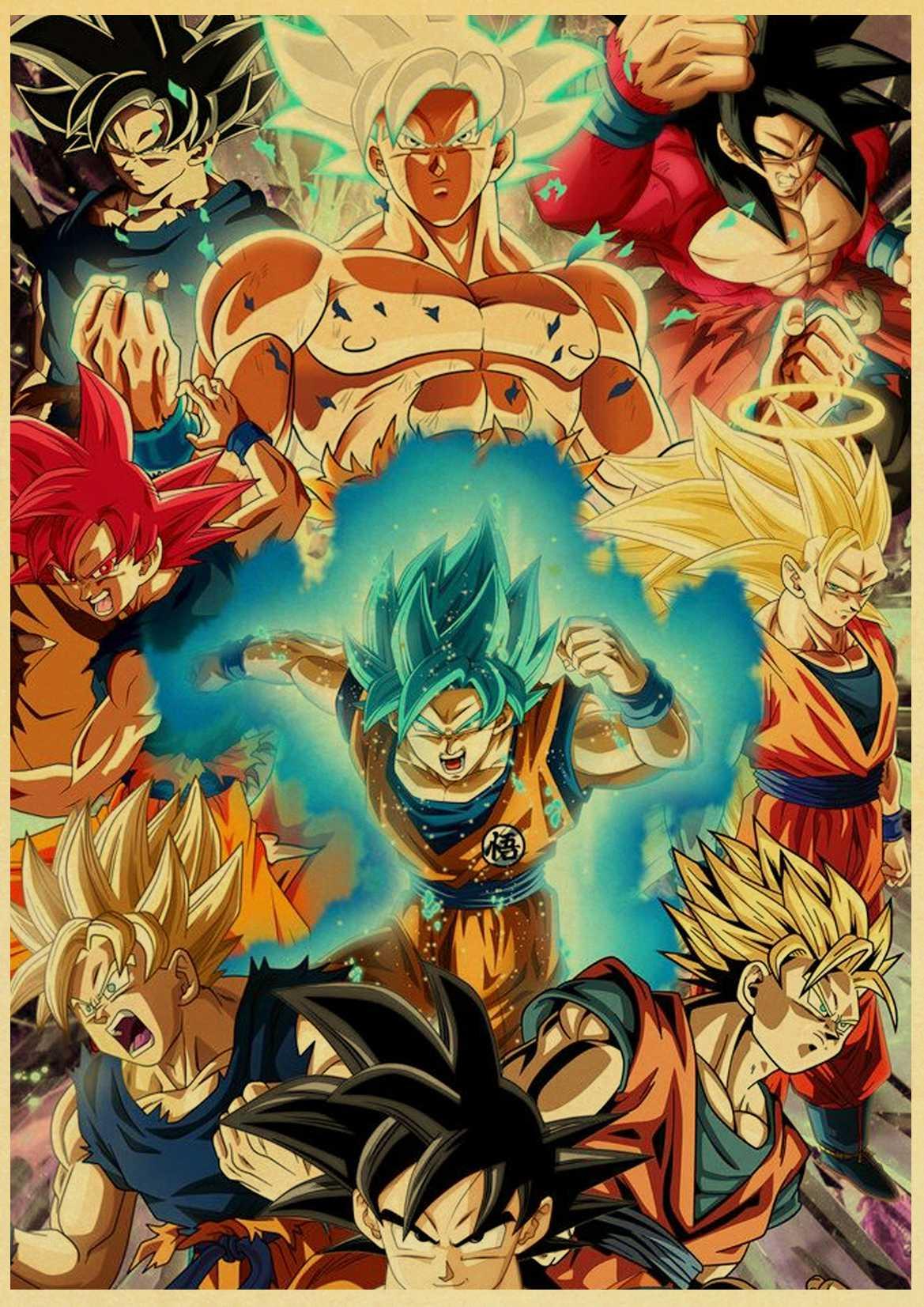 Japanese Comics Dragon Ball Z Classic Cartoon anime Kraft Paper wall Poster home