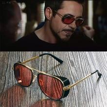 Male Steampunk Sunglasses Tony Stark Iron Man Sunglasses Retro Vintage Eyewear Men Steampunk Sun Glasses UV400 oculos de sol