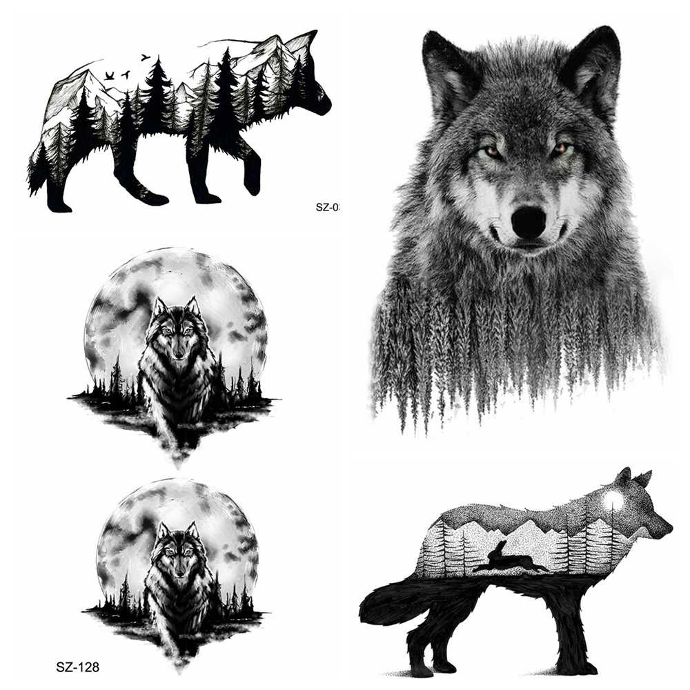 8e945141895d5 Sexy Forest Wolf Temporary Tattoo Men Sexy Stickers Waterproof Tattoo Women  Moon Arm Art Tattoo Fake