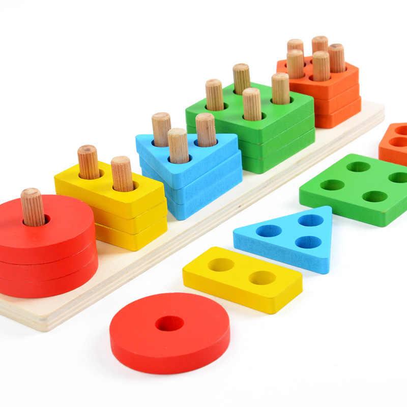 Baby Speelgoed Houten Blokken Vorm Jointed Boord Montessori Onderwijs Leunend Onderwijs Building Hakblok Wedstrijd Speelgoed