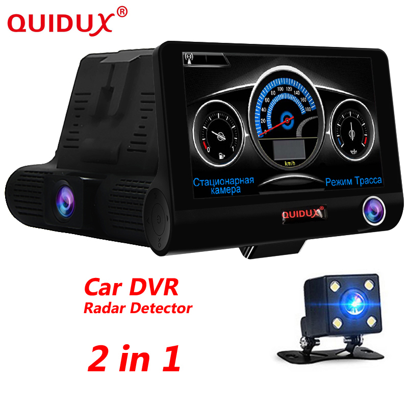 QUIDUX English & Russian Voice 4.0 inch Car DVR 2 in 1 car laser radar HD 1080p Car Camera Recorder Laser Detector 3 lens camera 2 in 1 russian