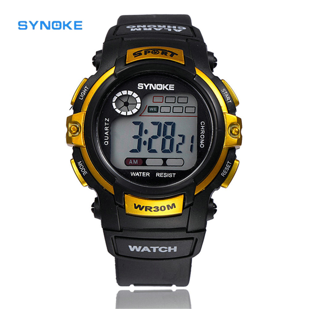SYNOKE Waterproof Outdoor Men Watch Fashion Men Digital LED Quartz Watch Sports Military Alarm Date Wrist Watch Rlogio Masculino