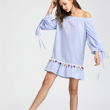 CHANGYUGE Women Summer Long Sleeve Boho Dress Tassel Trim Striped Flounce Bardot Dress Blue Striped Off The Shoulder Shift Dress tiered flounce trim tee