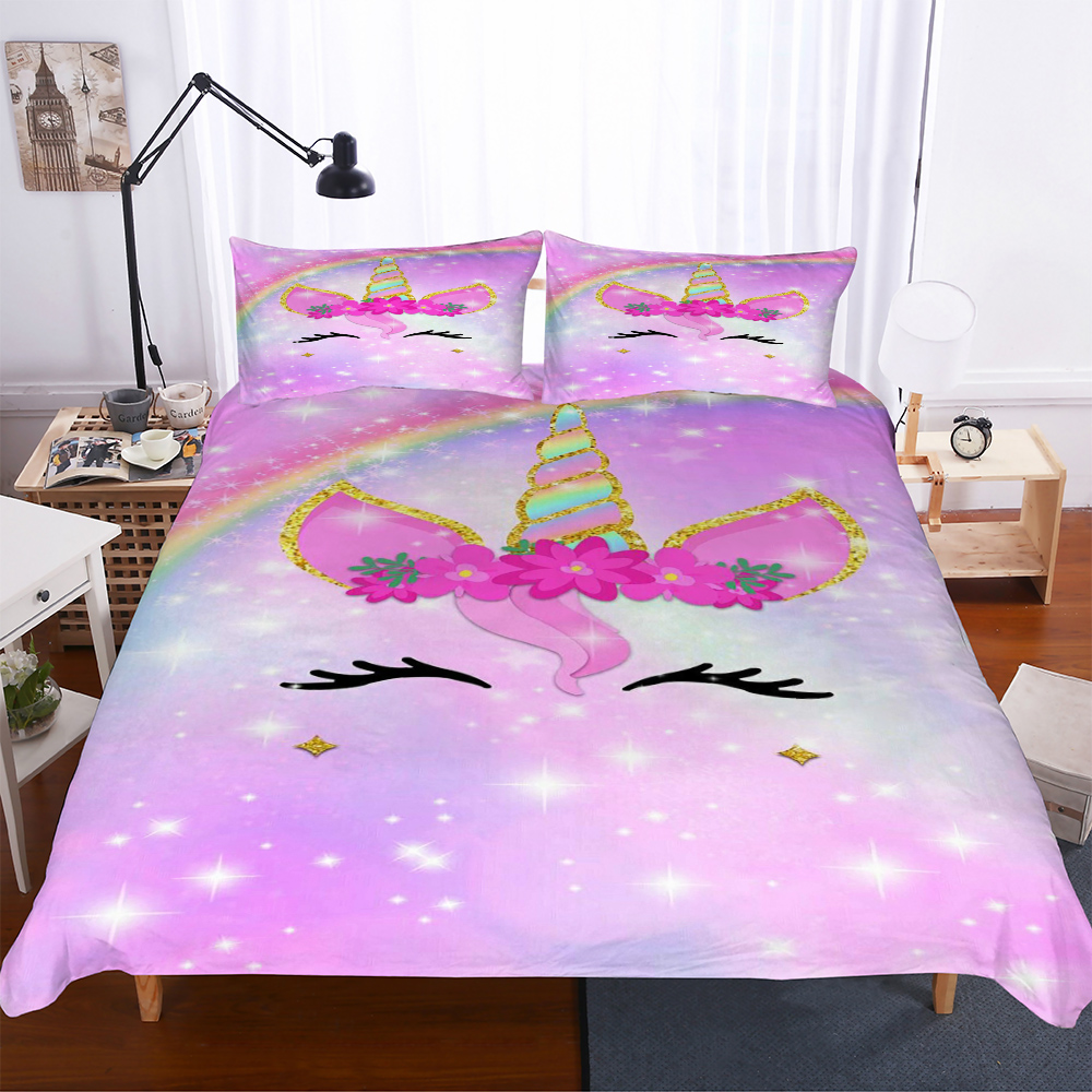 Yi Chu Xin 3d Galaxy Unicorn Bedding Set Kids Cartoon