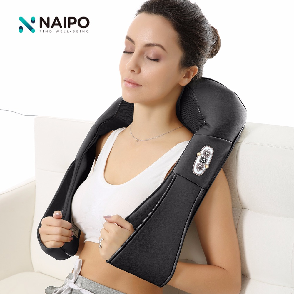 Naipo 3D Rotating Massager Vibrator Antistress Shoulder Infrared Shiatsu Kneading Neck Shoulder Massager fisioterapia