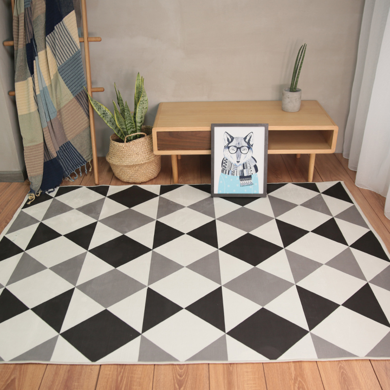 modern style geometric gray black mix carpet  living room