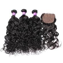 Water Wave Human Hair Bundles With Closure 4×4 Silk Base Closure Pre Plucked Add 3 Pcs Brazilian Remy Hair Extension CARA Hair