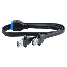 Dual Ports USB 3,0 Weibliche Schraube Panel Montieren Zu Motherboard 20 Pin Header Flache Kabel