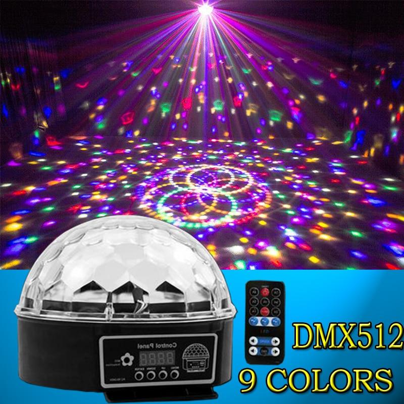 2017 new LED remote 9 colors 28W DMX magic ball DJ disco sound control crystal