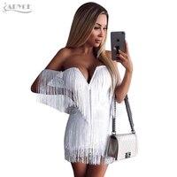 Adyce 2017 New Summer Dress Elegant Tassels Embellished Sexy V Neck Off The Shoulder Mini Dress