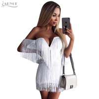 Adyce 2017 New Summer Dress Elegant Tassels Embellished Sexy V Neck Off The Shoulder Mini Dress