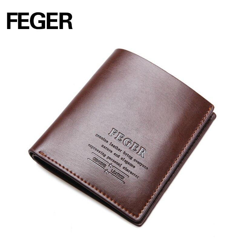 FEGER Brand Men Wallets Split Cow Leather Purse Solid Short Card Holder Wallet for Gentlemen Free
