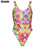Riseado New 2018 Swimming Suits For Women One Piece Swimsuit Female Printed Swimwear Sports U Back