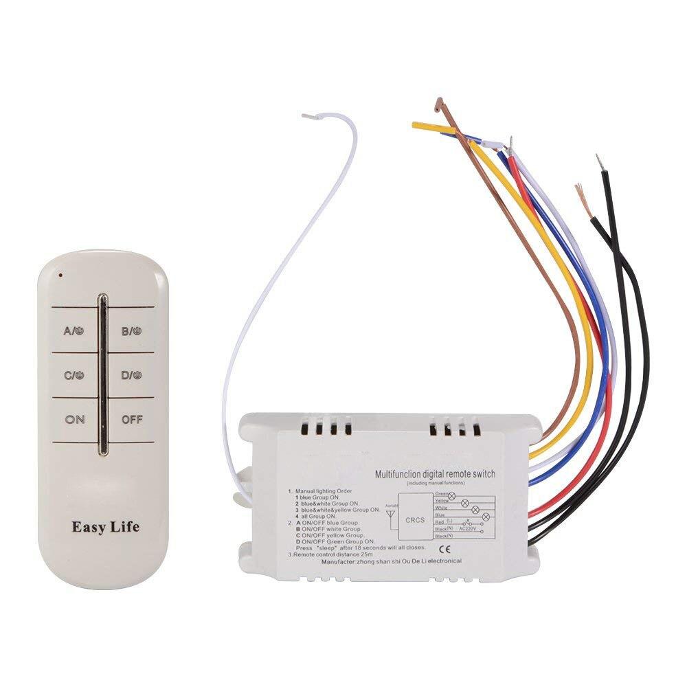 4 canales de luz Digital inalámbrico RF de Control remoto del interruptor receptor lámpara energía electrodoméstico AD198
