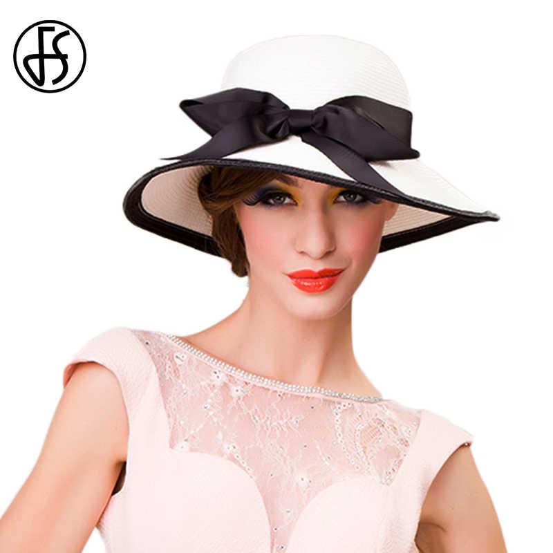 FS Sun Hat Foldable Women Black White Bowknot Ladies Wide Brim Summer Hats Beach Cap Casual Ribbon Outdoor Floppy Straw Femme