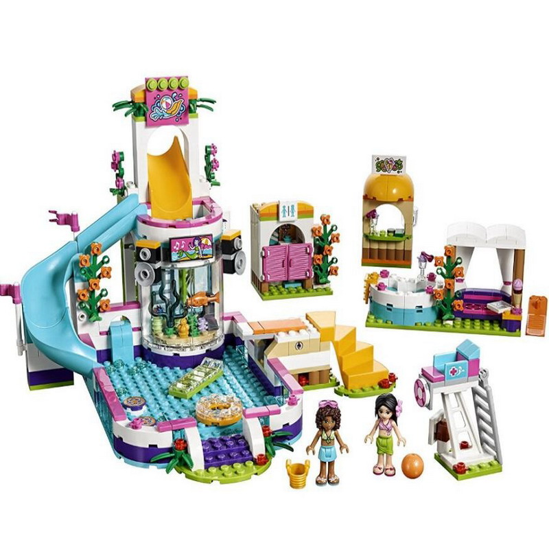 01013 Лепин друзей серии Heartlake летний бассейн модель строительные блоки Просветите DIY Рисунок Игрушки для детей Совместимые Legoe