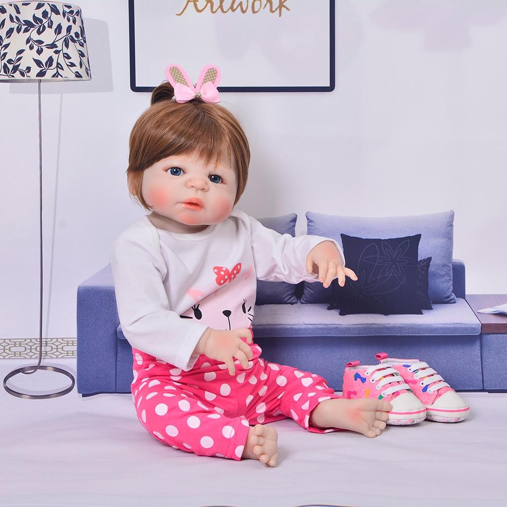 23 Inch Newborn Reborn Babies Doll Full Body Soft Silicone Princess Girl Babies Doll Toy Real Reborn Bonecas Kids Palymates
