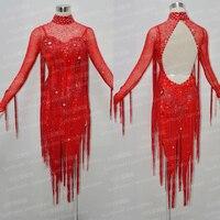 New Fashion tango salsa vestito da ballo samba dancewear Latino cha-cha vestito da ballo di colore rosso Girasole vestito da ballo, red fringe latino