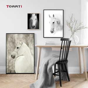 Image 3 - HD נורדי חיות כרזות הדפסי מודרני סוס בד ציור על קיר לסלון חדר שינה בית תפאורה שחור אמנות תמונות