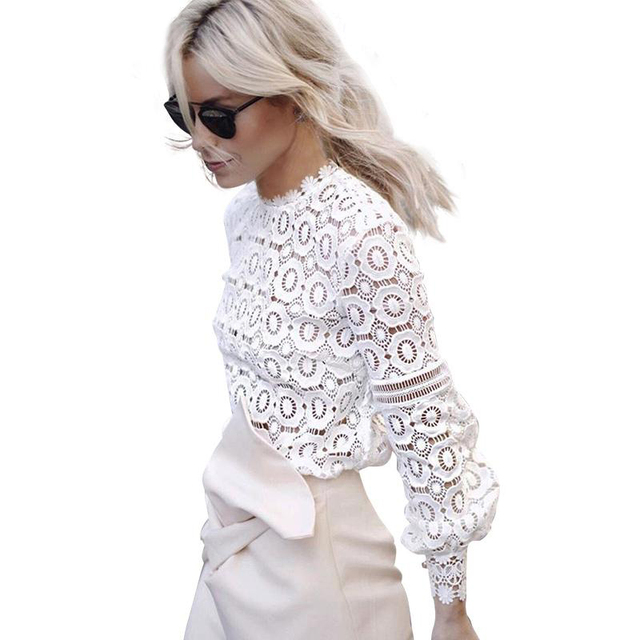 Autumn Women Sexy Hollow Out Floral Lace Blouse Shirt Elegant Long Sleeve White/Black Blouse 2017 Winter Tops Cool Blouse Blusas