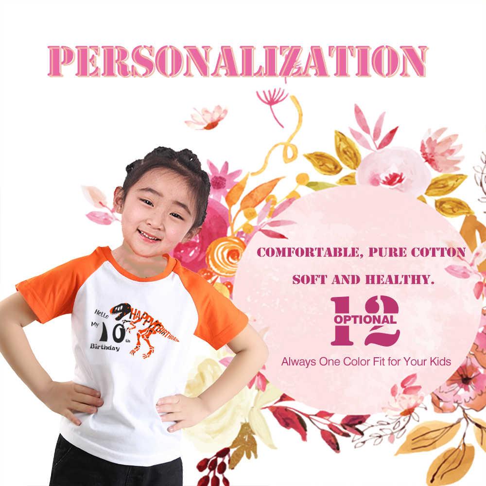 Jongen Dinosaurus T-shirt Oranje Raglan Verjaardag Meisje T-shirt Mode Meisjes Kleding 2-14 Jaar Kinderen Kleding Kinderen Kleding o-hals