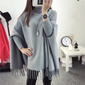 2016 Winter Sweater Batwing Sleeve Plus Size Women Turtleneck Sweater And Pullovers Knit Talles Oversize Women Poncho Pull Femme