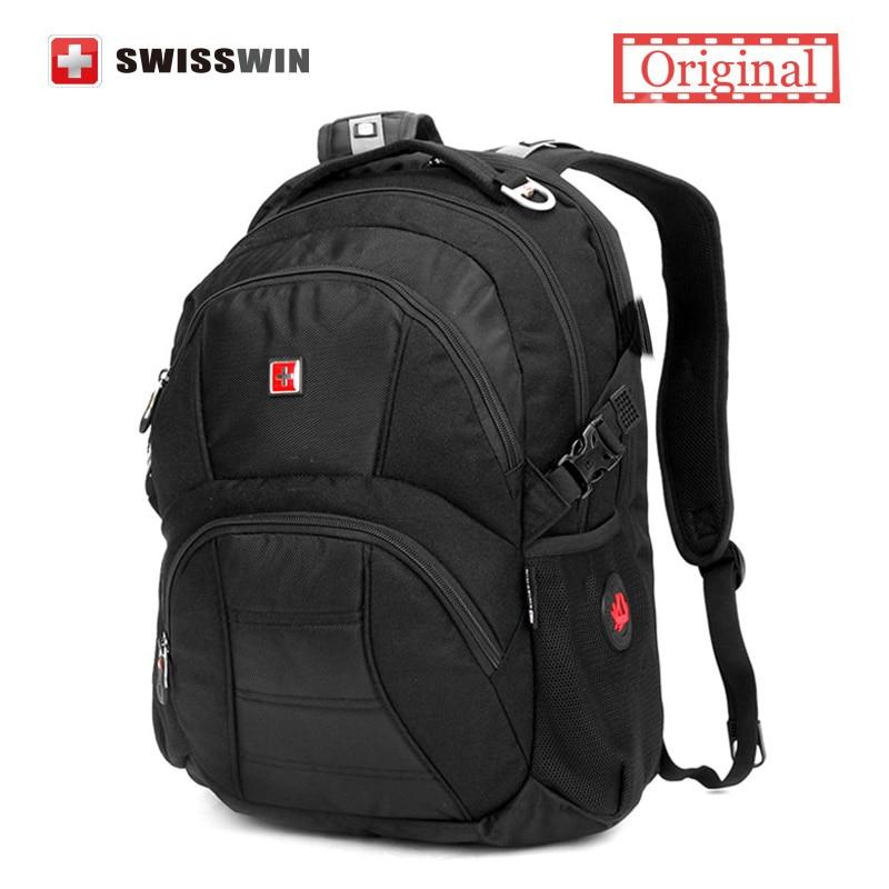Swisswin Unisex 17 Laptop Backpack Men Black Male Computer Backpack for Business Travel Big Capacity Light Weight Bagpack Men