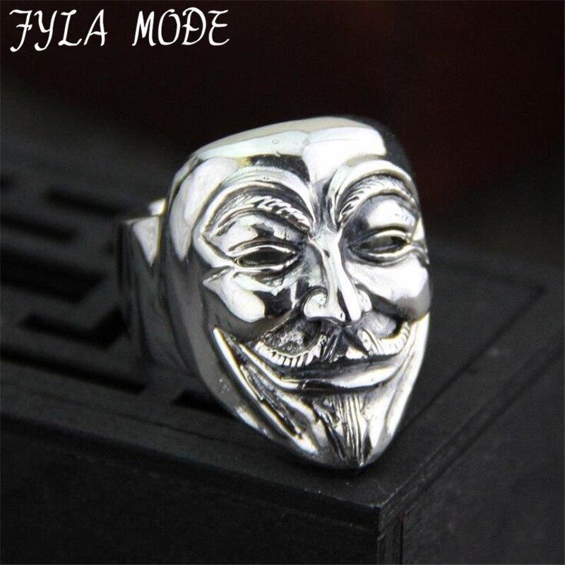 New Design Guy Fawkes Mask Film Style Ring S925 Sterling Silver Finger Ring V for Vendetta Trendy Men Mask Jewelry 28MM 24.40G