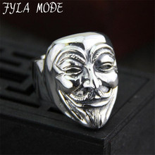 New Design Guy Fawkes Mask Film Style Ring S925 Sterling Silver Finger Ring V for Vendetta Trendy Men Mask Jewelry 28MM 24.40G