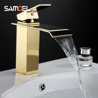 Gold Bathroom Faucets Square Waterfall Faucet Hot and Cold Device Faucet Polished Golden Bathroom Basin Sink Mixer Tap G1094