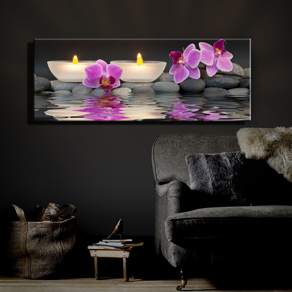 led lighted flicking tea wax candles with orchids near water spa picture canvas wall art light. Black Bedroom Furniture Sets. Home Design Ideas