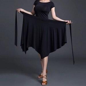 Image 4 - Saia de dança latina vermelha/preta irregular, saia cha/rumba/samba/tango vestidos para prática de dança/performamnce dancewear