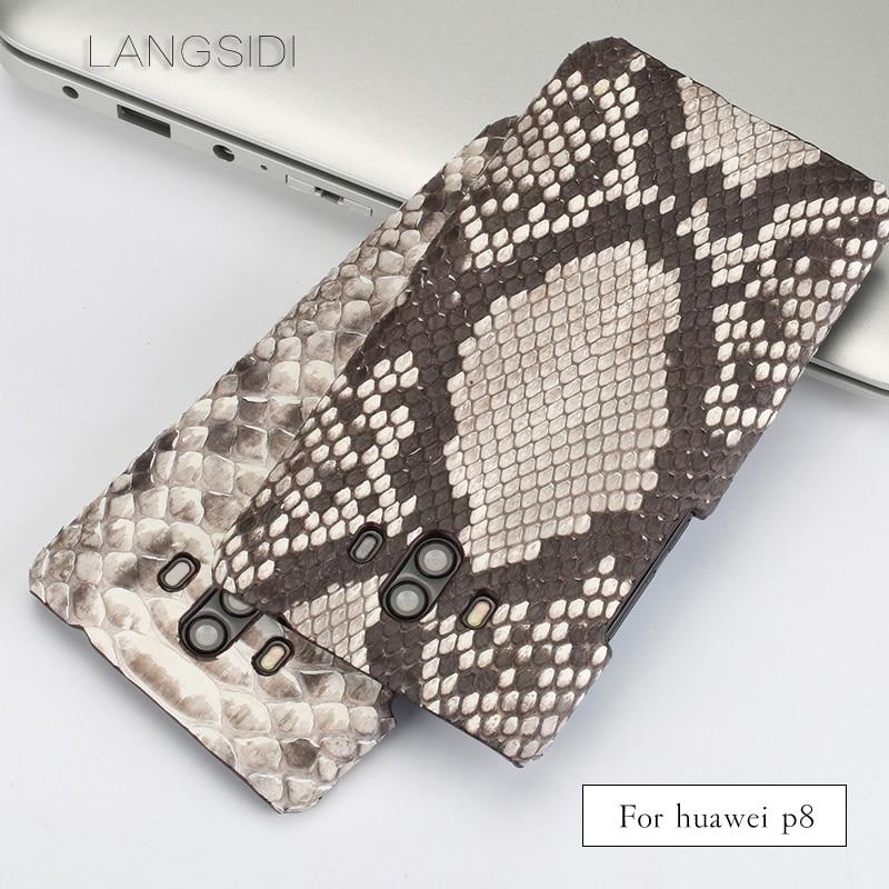 wangcangli For Huawei P8 Luxury handmade real python Skin leather phone case Genuine Leather