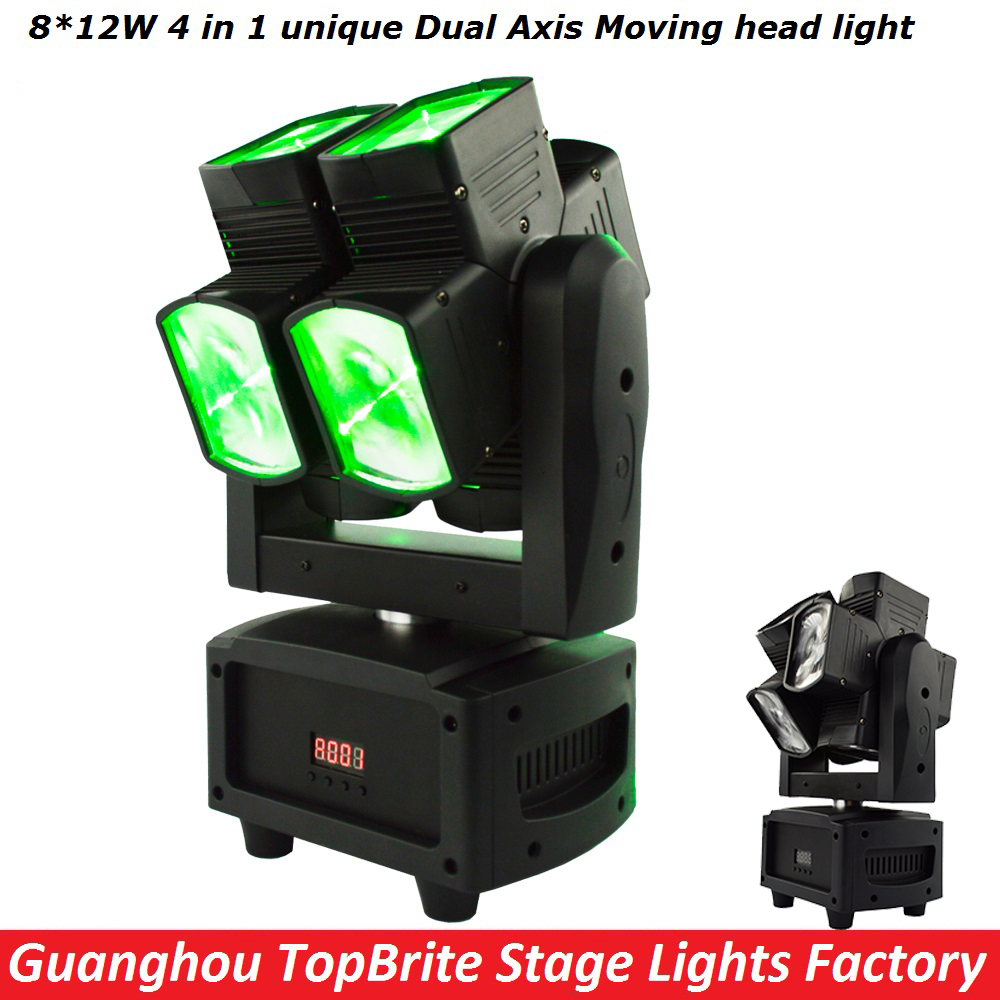 Factory Price High Quality 8 12W RGBW 4IN1 Unique Dual Axis Moving Head Light DMX512