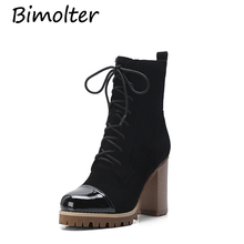 Bimolter New Cow Suede Black Ankle Boots Square Heels Genuine Leather Platform Shoes Autumn Female Lace Up Fashion Boots NB005 morazora boots female cow suede fashion shoes zip solid leather boots spring autumn med heels shoes ankle boots for women
